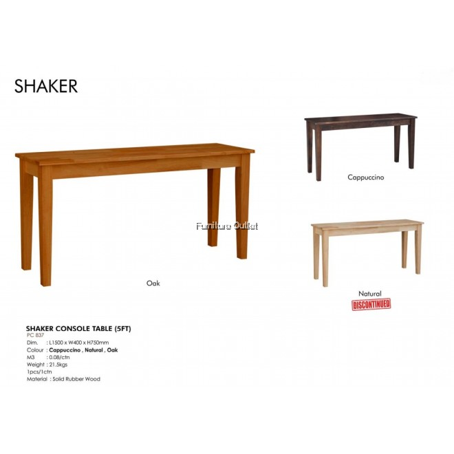SHAKER CONSOLE TABLE (5')