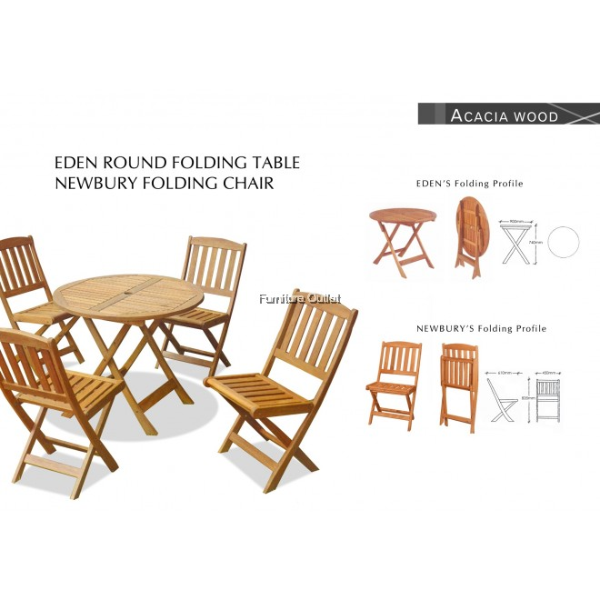 EDEN 90CM RD FOLDING TABLE+4PCS NEWBURY ARM CHAIR