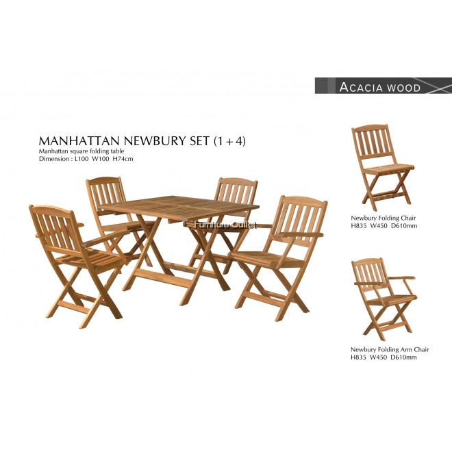 MANHATTAN 100CM SQ FOLDING TABLE+4PCS NEWBURY ARM CHAIR