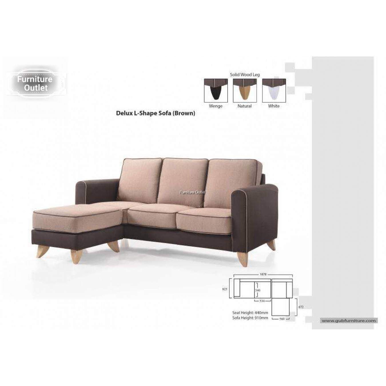 L-Shape Sofa 3 Seater + Stool