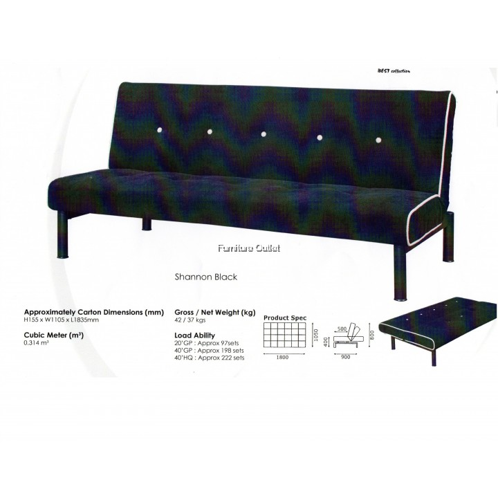 Trump 3 Seater Sofa Bed Shannon Black