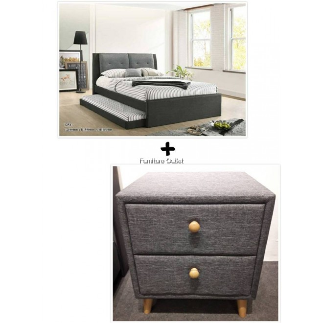Amelin Queen Bed + Bedside Table (Grey)