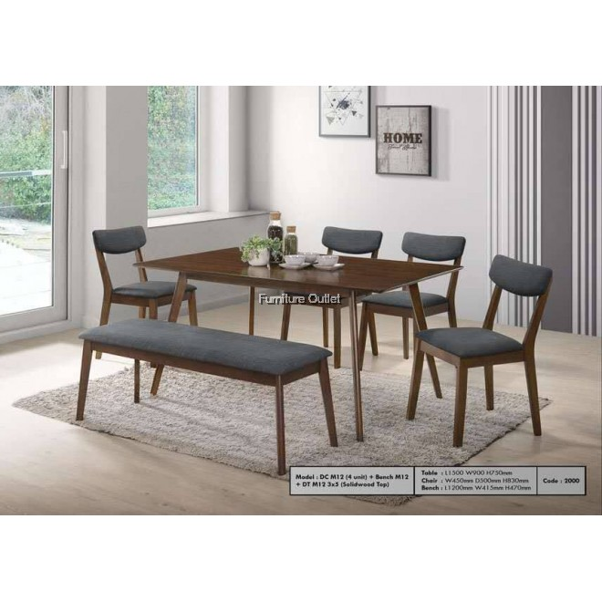 Ardell Dining Set With Bench 1+6