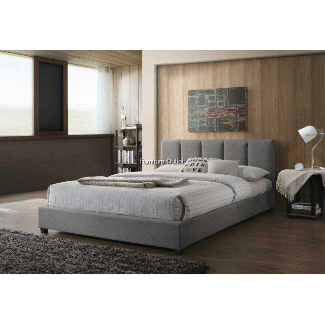 Morocco Queen Bed Grey + 8'' SPRING Mattress