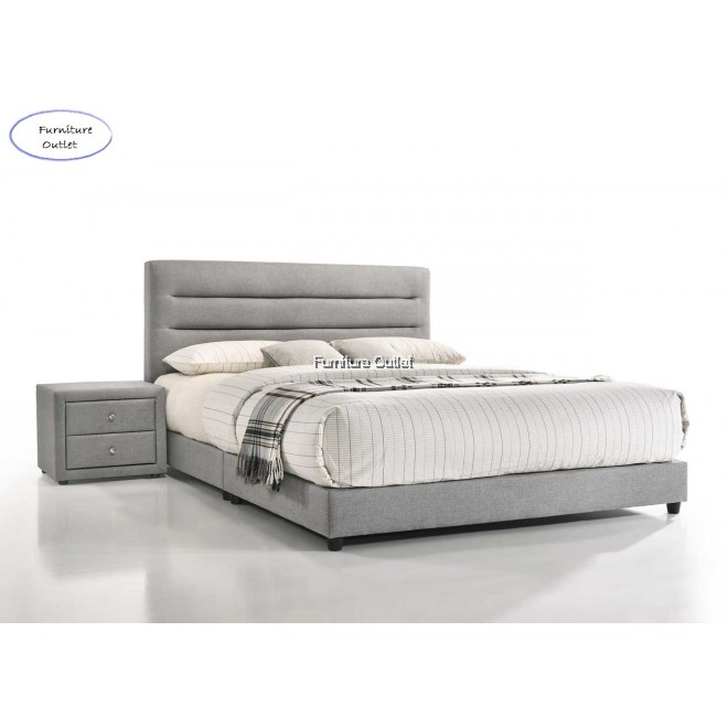 Tribeca King Bed + Velvet Bedside Table + 10'' Spring Mattress