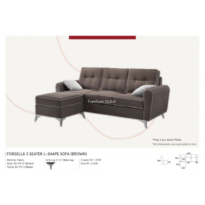Forsella L-Shape 3 Seater - 2 color