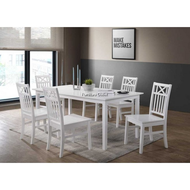 ALICE 180x90 + MOA CHAIR DINING SET (1+6)