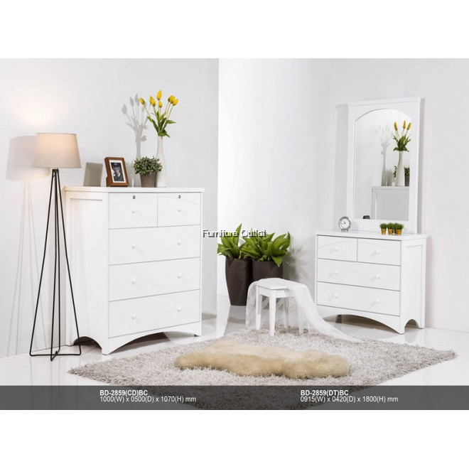 (ED2859) MONACO 2859 DRESSING TABLE + MIRROR C/W STOOL