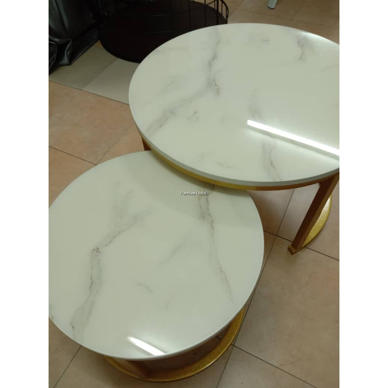 MARBLE COFFEE TABLE + SIDE TABLE SET