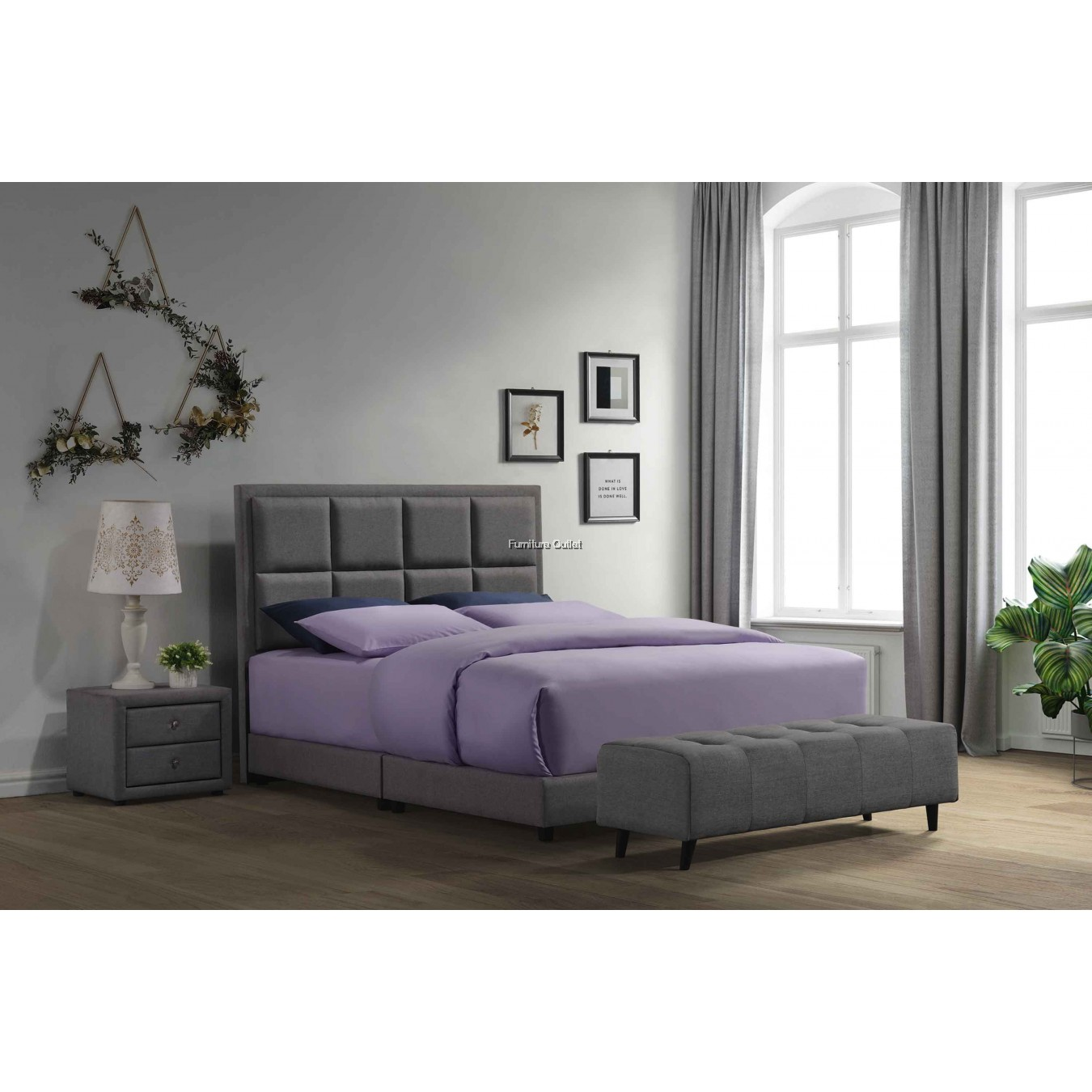 COCO QUEEN BED - GREY or BROWN
