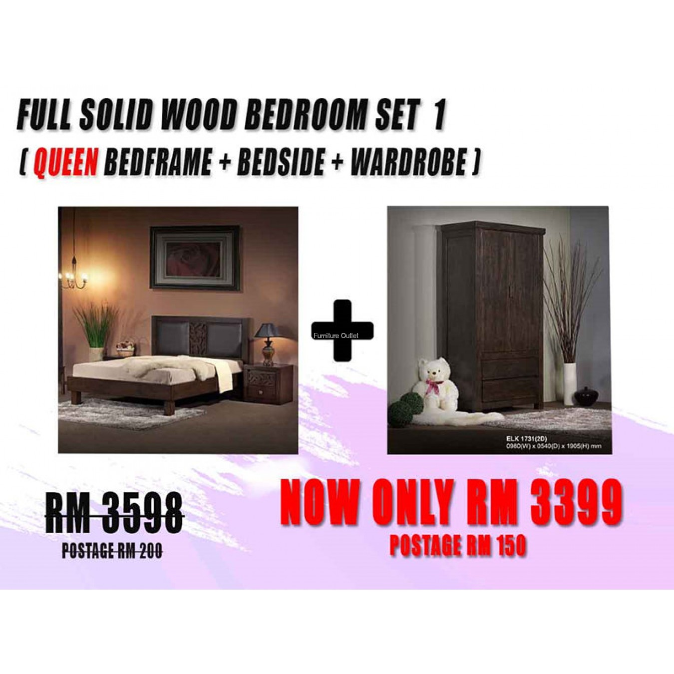 FULL SOLID WOOD BEDROOM SET - 1