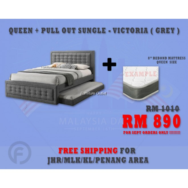 "( FREE SHIPPING - SEPT PROMOTION) - VICTORIA GREY + 8"" REBOND QUEEN MATTRESS"