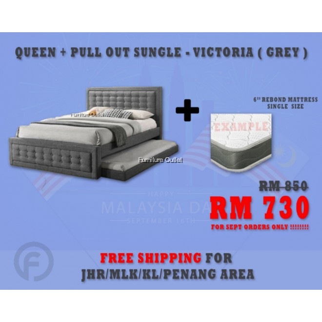 "( FREE SHIPPING - SEPT PROMOTION) - VICTORIA GREY + 6"" REBOND SINGLE MATTRESS"