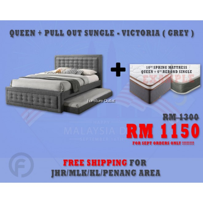 "( FREE SHIPPING - SEPT PROMOTION) - VICTORIA GREY + 6"" REBOND SINGLE MATTRESS + 10"" SPRING QUEEN MATTRESS"