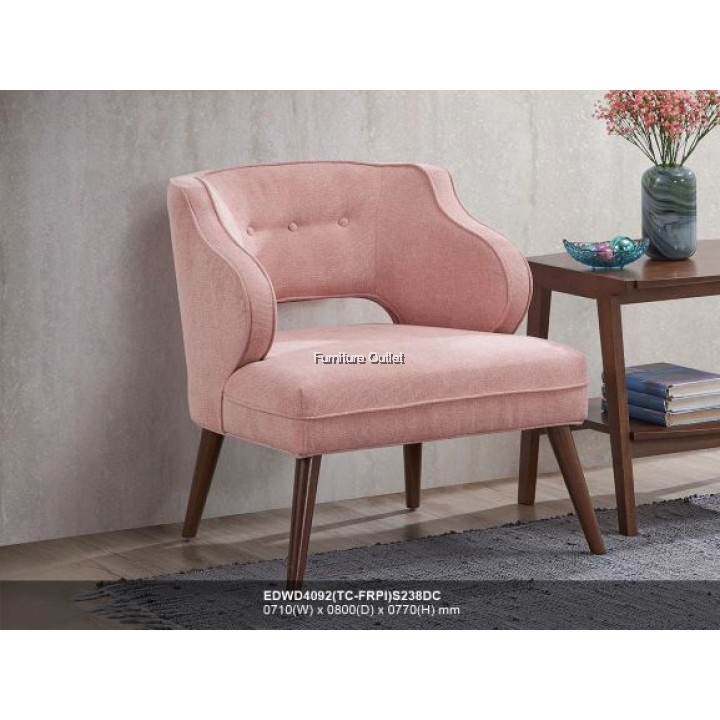EDWD4092 ROSE PINK FABRIC TUB CHAIR
