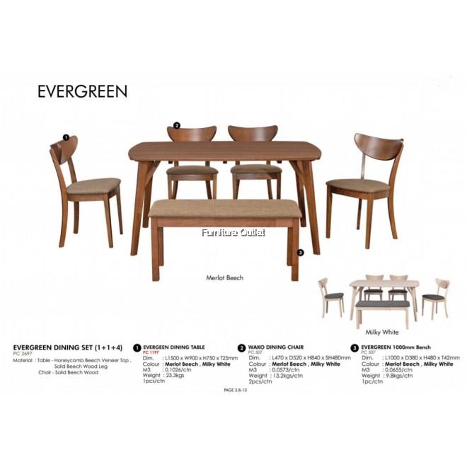 EVERGREEN DINING SET (1+1+4)