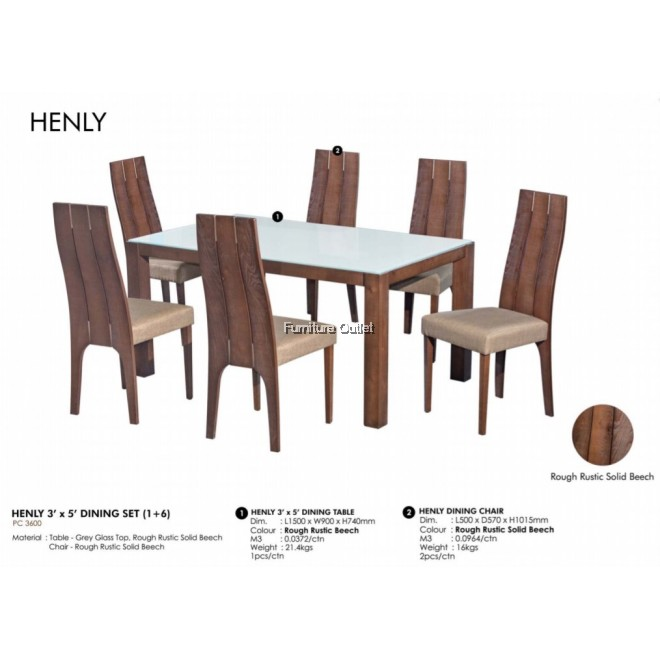 HENLY 3' x 5' DINING SET (1+6)