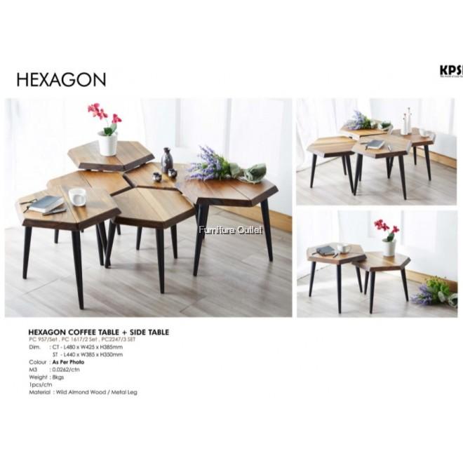 HEXAGON COFFEE TABLE + SIDE TABLE