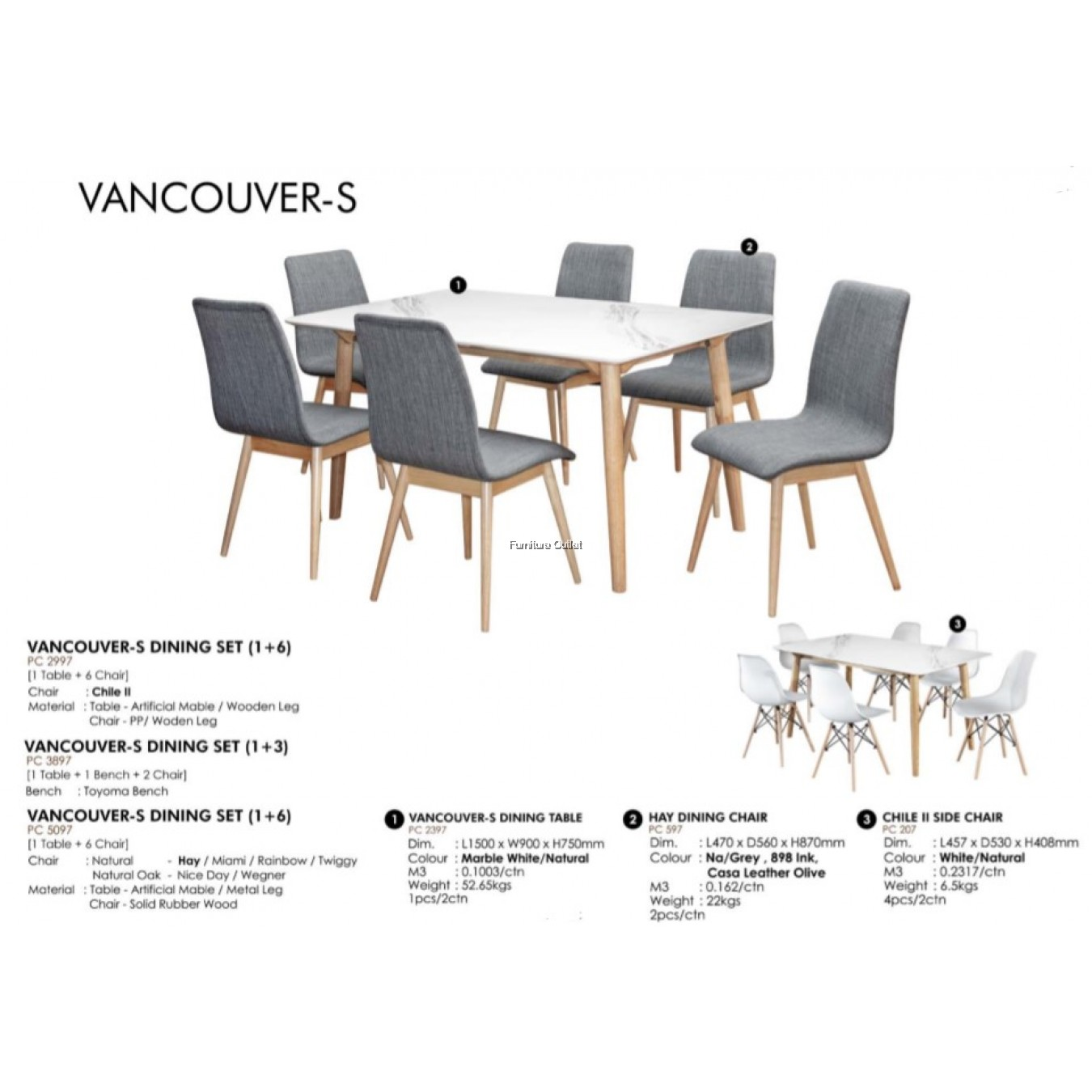 VANCOUVER-S DINING SET (1+1+2) / (1+6)