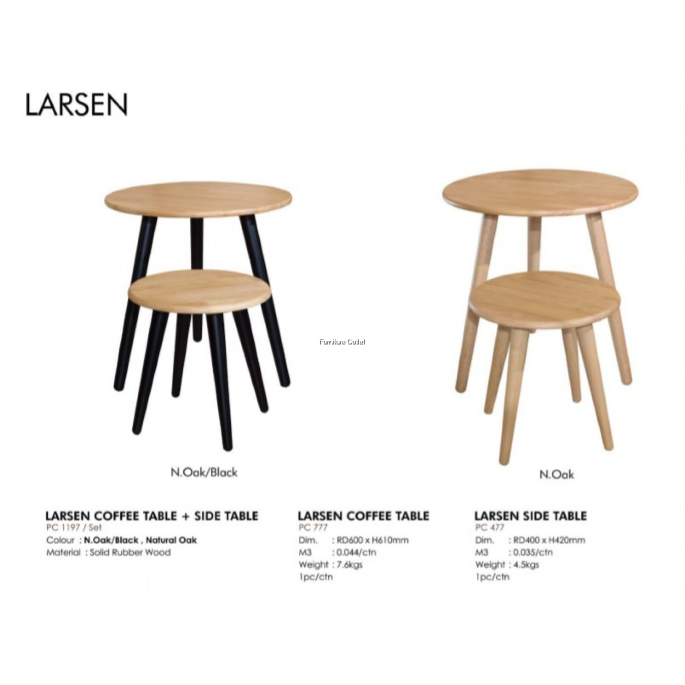 LARSEN COFFEE TABLE + SIDE TABLE