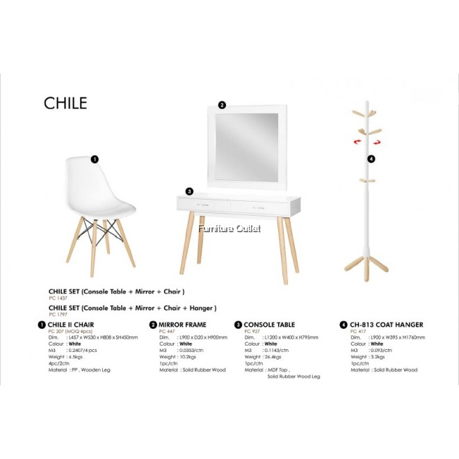 CHILE SET 1 (CONSOLE TABLE + MIRROR + CHAIR)