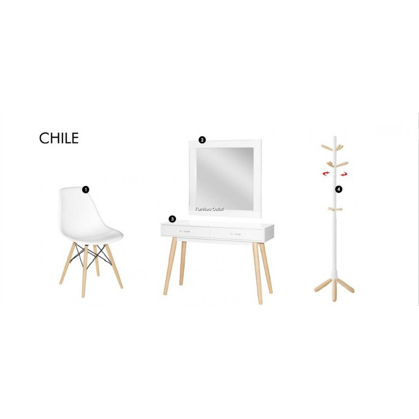 CHILE SET 2 (CONSOLE TABLE + MIRROR + CHAIR + HANGER)