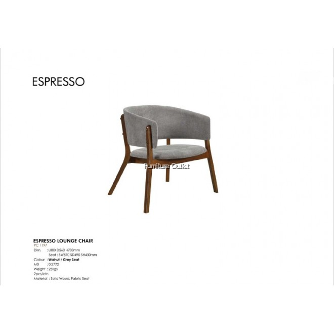 ESPRESSO LOUNGE CHAIR - WALNUT / GREY SEAT