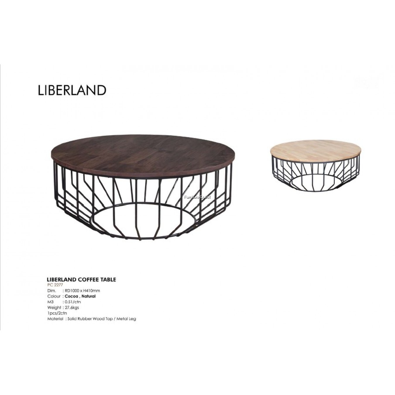 LIBERLAND COFFEE TABLE - COCOA / NATURAL