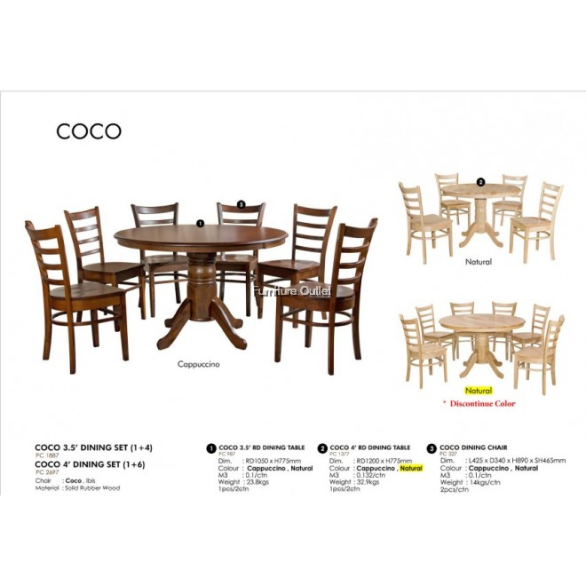 COCO 3.5' DINING SET - (1+4) / COCO 4' DINING SET - (1+6)