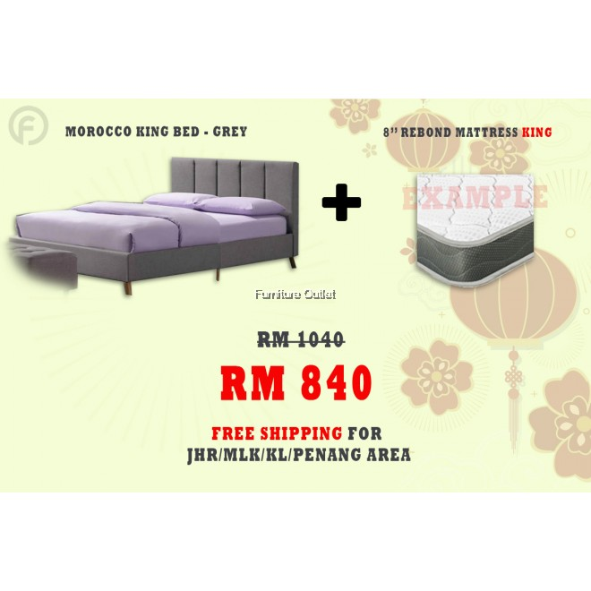 ( FREE SHIPPING - CNY PROMOTION) - MOROCCO BED + REBOND MATTRESS 8""