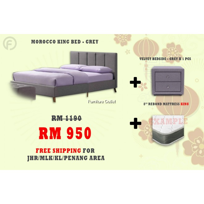 ( FREE SHIPPING - CNY PROMOTION) MOROCCO BED + BEDSIDE + MATTRESS 8""