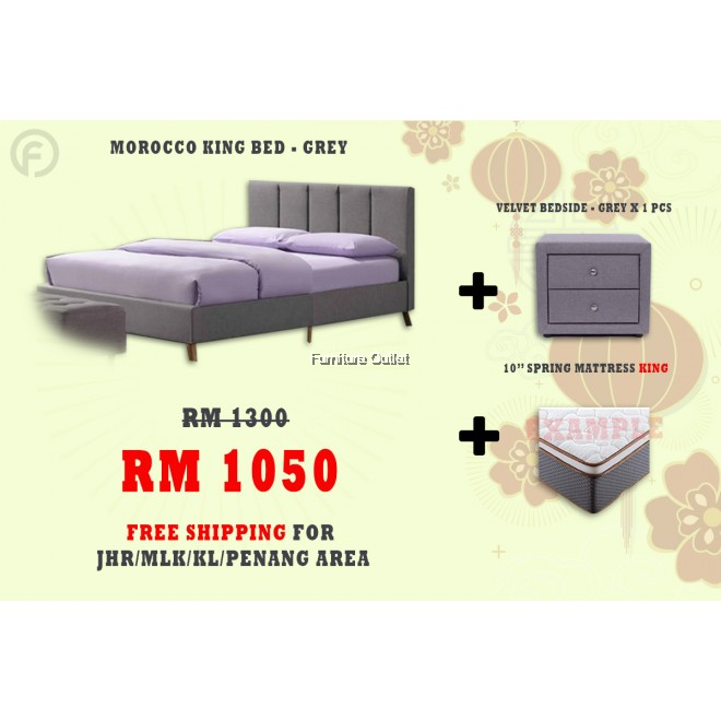 ( FREE SHIPPING - CNY PROMOTION) MOROCCO BED + BEDSIDE + MATTRESS 10""