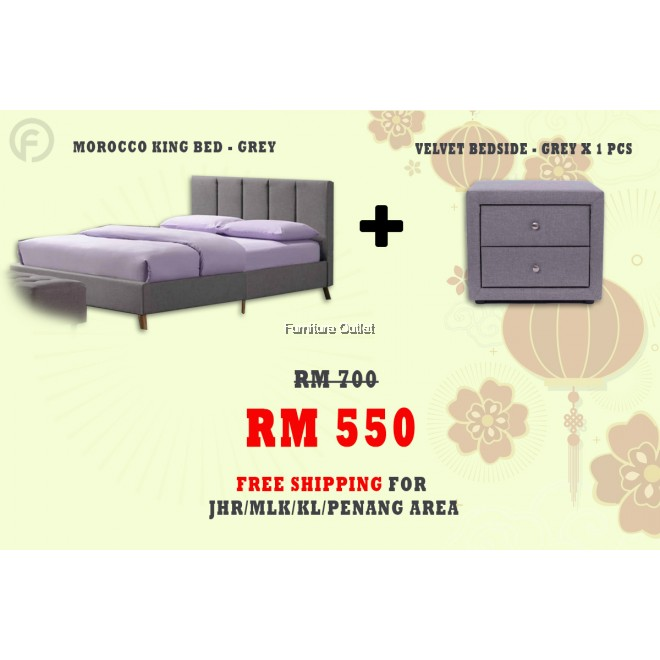 ( FREE SHIPPING - CNY PROMOTION) MOROCCO BED + BEDSIDE TABLE