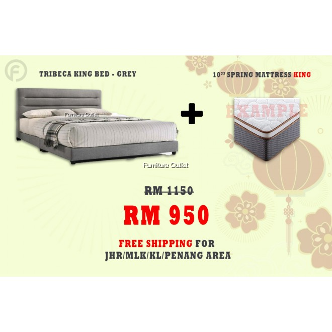 ( FREE SHIPPING - CNY PROMOTION) - TRIBECA KING/QUEEN BED + MATTRESS 10""