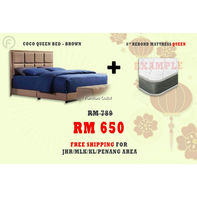( FREE SHIPPING - CNY PROMOTION) - COCO QUEEN BED + MATTRESS 8""