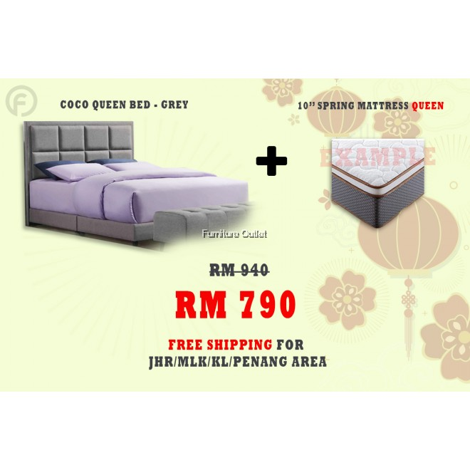 ( FREE SHIPPING - CNY PROMOTION) - COCO QUEEN BED + MATTRESS 10""