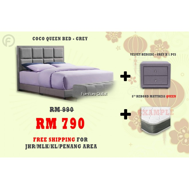 ( FREE SHIPPING - CNY PROMOTION) COCO QUEEN BED + BEDSIDE + MATTRESS 8""