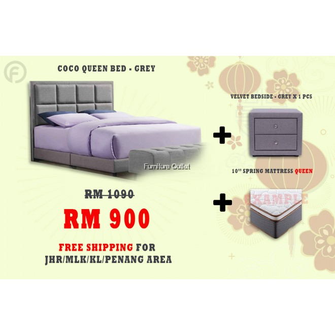 ( FREE SHIPPING - CNY PROMOTION) COCO QUEEN BED + BEDSIDE + MATTRESS 10""