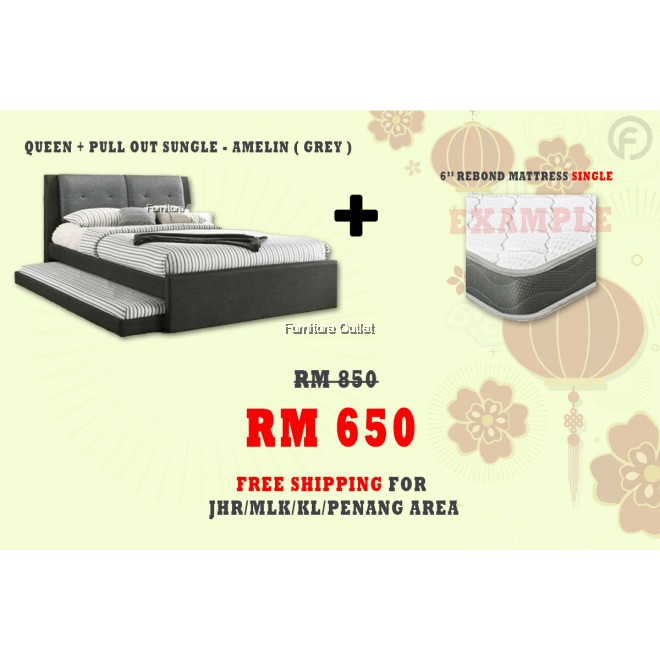 [ FREE SHIPPING ] AMELIN QUEEN + PULLOUT SINGLE BED + 6'' REBOND SINGLE MATTRESS