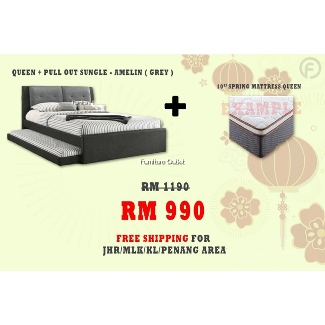 [ FREE SHIPPING ] AMELIN QUEEN + PULLOUT SINGLE BED + 10'' SPRING QUEEN MATTRESS