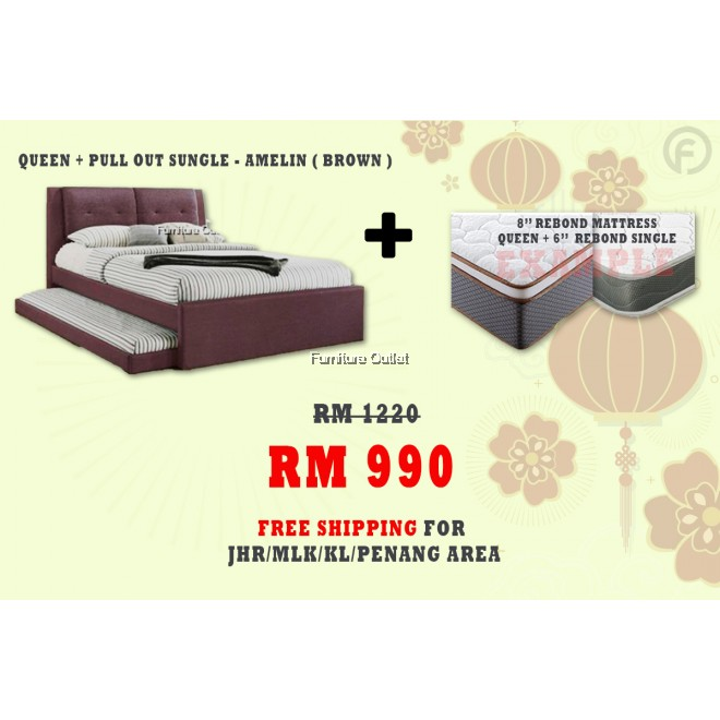 [ FREE SHIPPING ] AMELIN QUEEN + PULLOUT BED + 6'' SINGLE + 8'' QUEEN MATTRESS