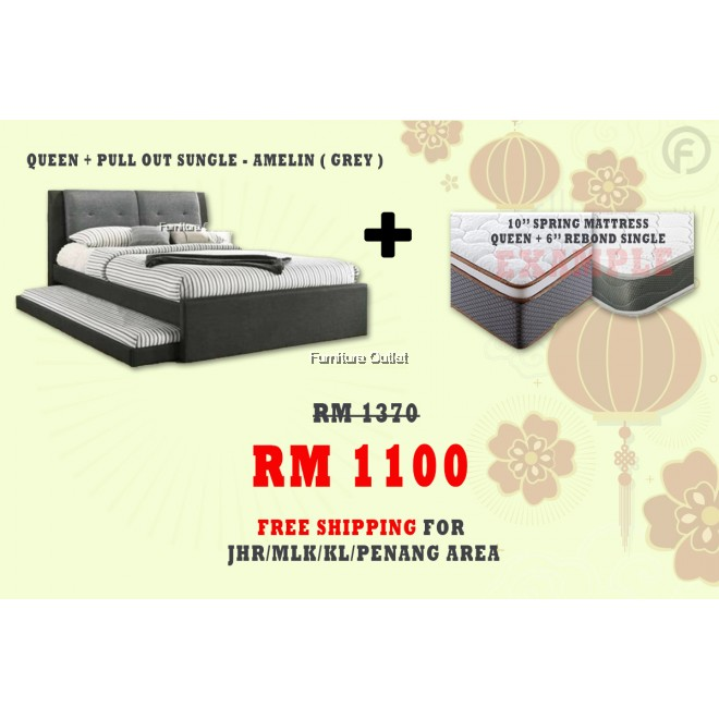 [ FREE SHIPPING ] AMELIN QUEEN + PULLOUT BED + 6'' SINGLE + 10'' QUEEN MATTRESS