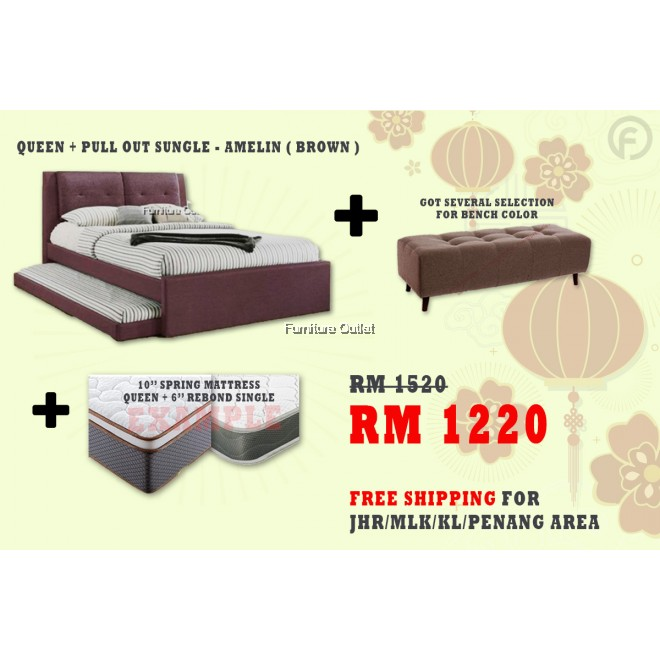 [ FREE SHIPPING ] AMELIN QUEEN + PULLOUT BED + BENCH + 6''SINGLE 10'' QUEEN MATTRESS