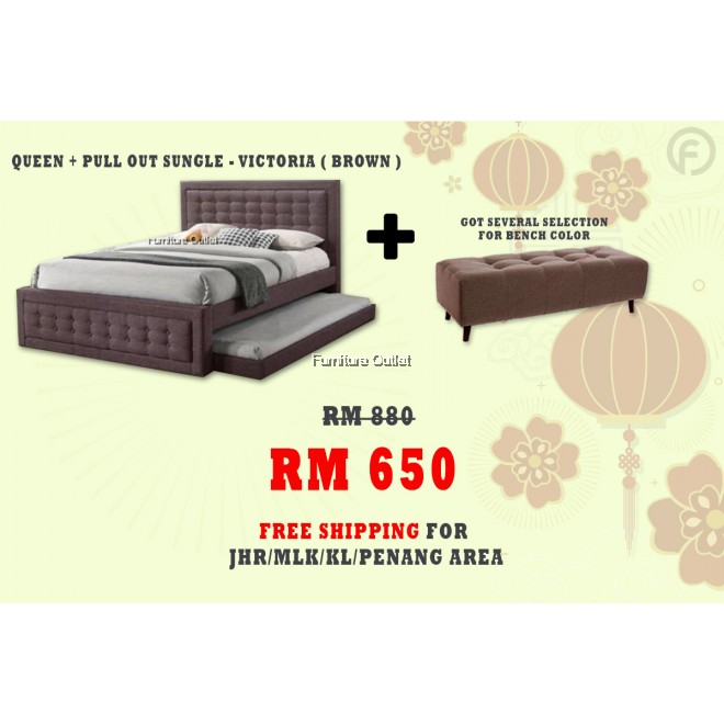 [ FREE SHIPPING ] VICTORIA QUEEN + PULLOUT SINGLE BED + BENCH