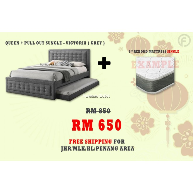 [ FREE SHIPPING ] VICTORIA QUEEN + PULLOUT SINGLE BED + 6'' REBOND SINGLE MATTRESS