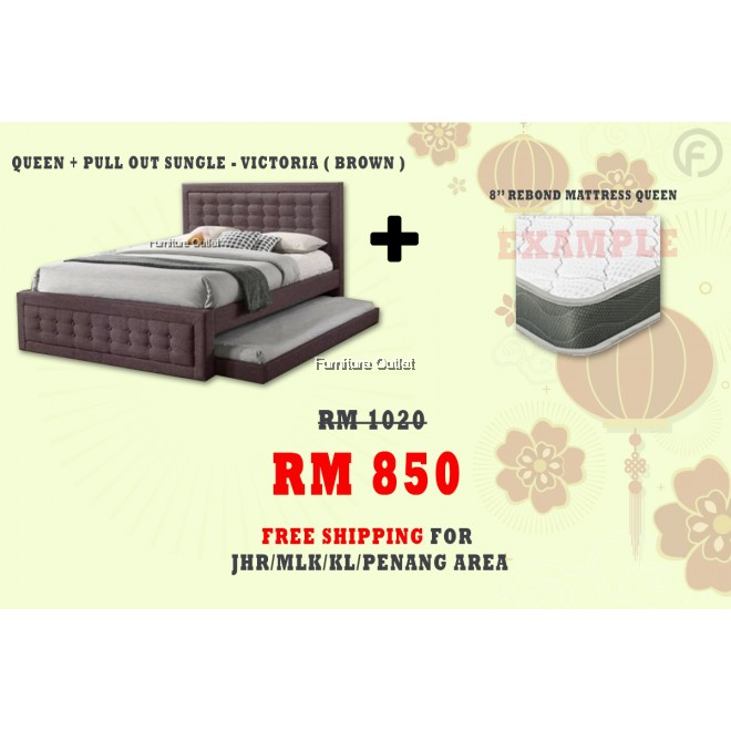 [ FREE SHIPPING ] VICTORIA QUEEN + PULLOUT SINGLE BED + 8'' REBOND QUEEN MATTRESS