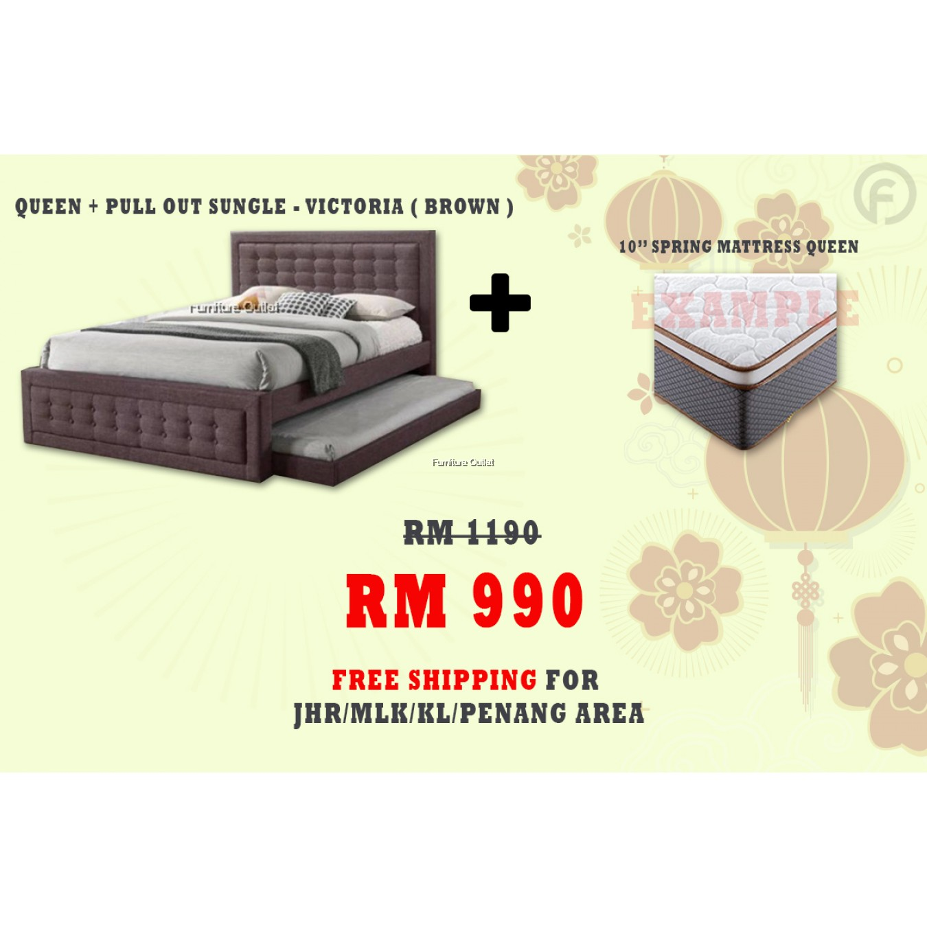 [ FREE SHIPPING ] VICTORIA QUEEN + PULLOUT SINGLE BED + 10'' SPRING QUEEN MATTRESS