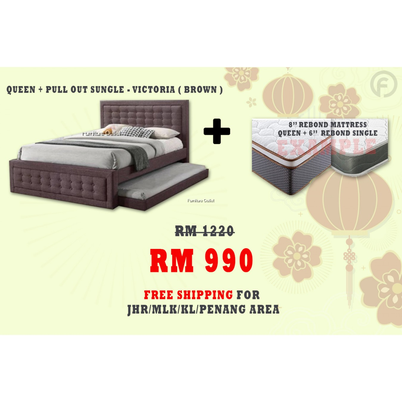[ FREE SHIPPING ] VICTORIA QUEEN + PULLOUT SINGLE BED + 6'' SINGLE 8'' QUEEN REBOND MATTRESS