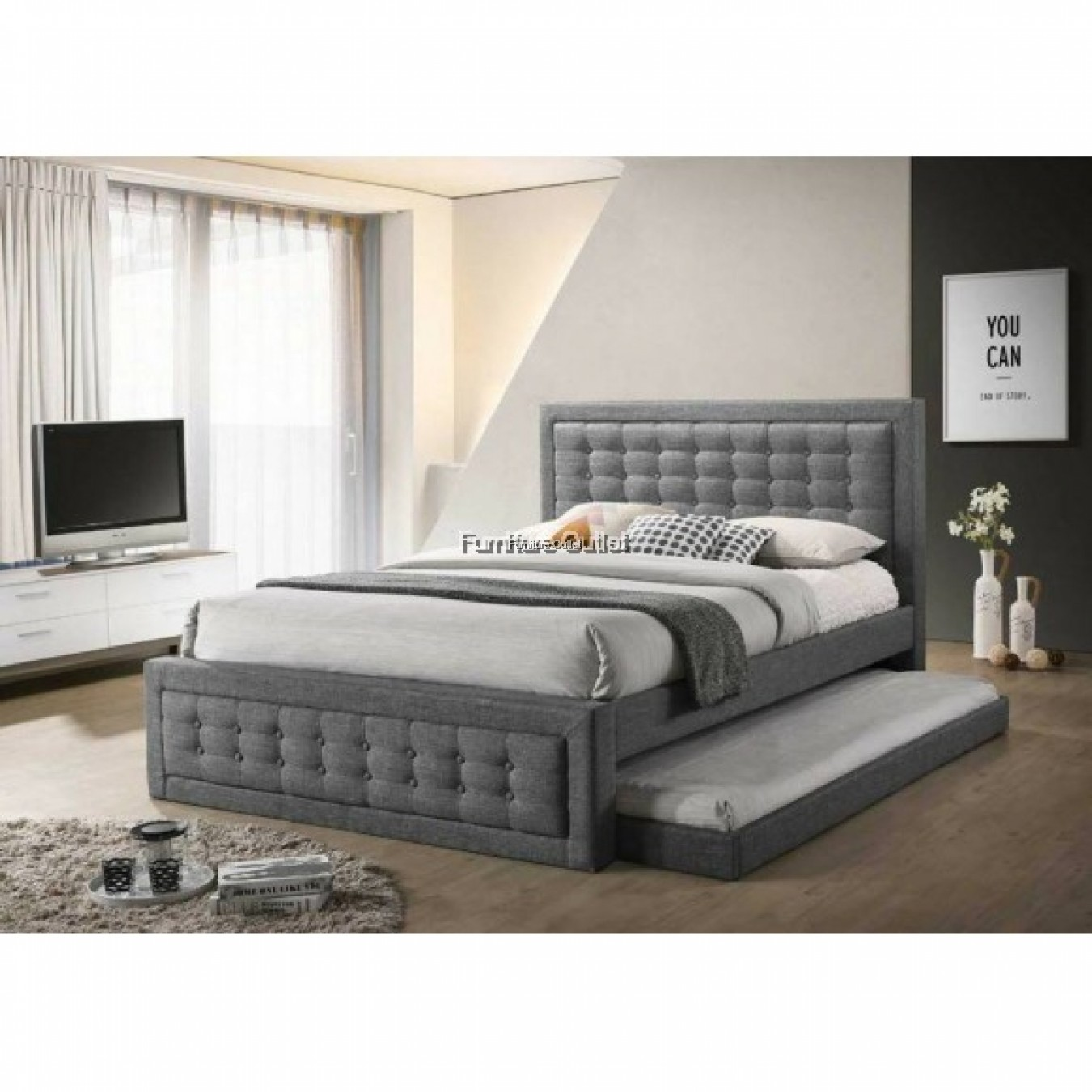 [ FREE SHIPPING ] VICTORIA QUEEN + PULLOUT BED + BENCH + 6'' SINGLE 10'' SPRING MATTRESS