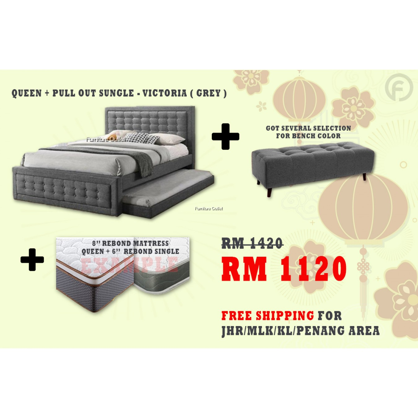 [ FREE SHIPPING ] VICTORIA QUEEN + PULLOUT BED + BENCH + 6'' SINGLE 8'' QUEEN MATTRESS